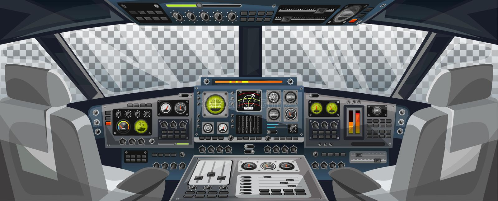 Airplane cockpit view with control panel buttons and transparent background on window view. Airplane pilots cabin with dashboard. Control and pilots chair for royalty free illustration