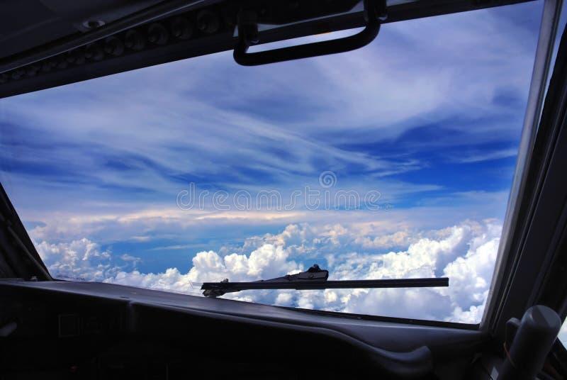 airplane cockpit window stock image