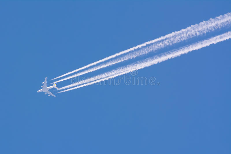 Airplane contrail royalty free stock image