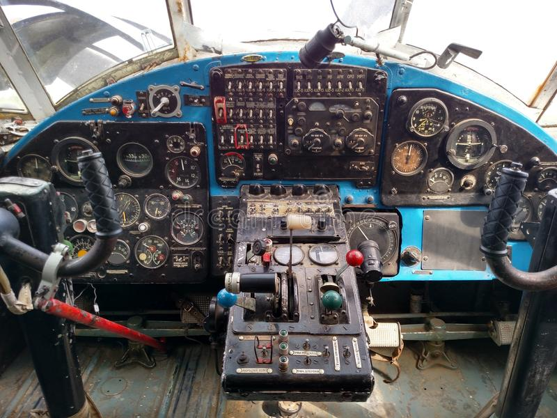 Airplane controls royalty free stock photography