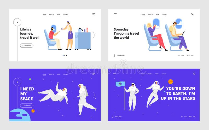 Airplane Crew and Passenger Characters in Plane, Astronauts in Space Suits Flying in Outer Space Website Landing Page. Set, Stewardess Serving People Web Page stock illustration