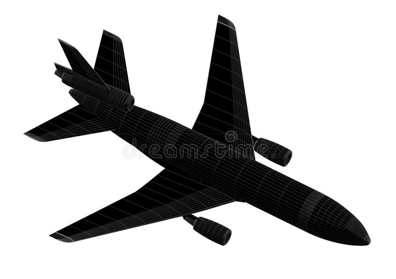 Airplane 3D blueprint - isolated royalty free stock photo