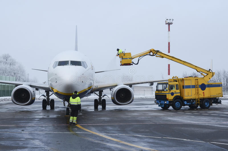 Airplane Deicing stock image