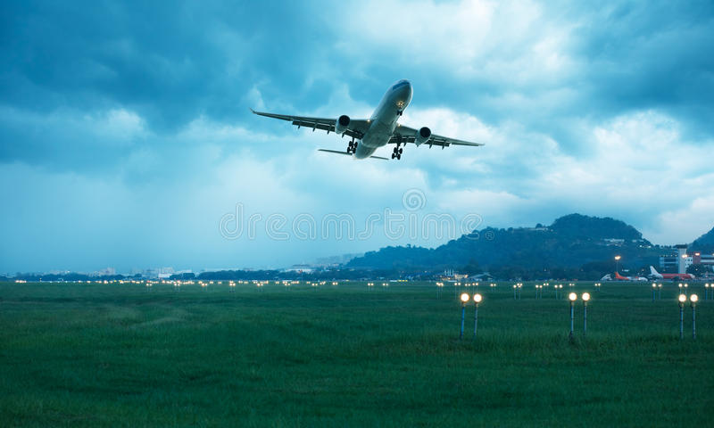 Airplane departed stock photos
