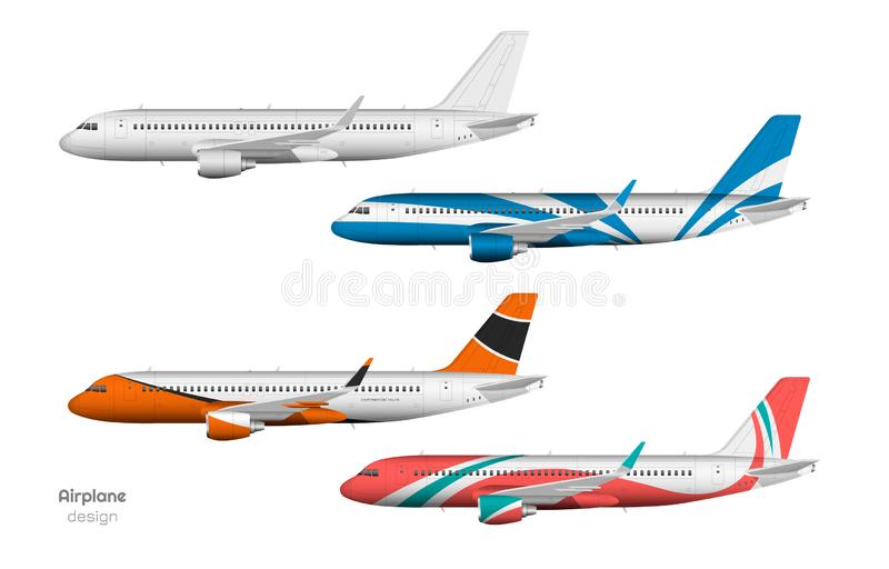 Airplane design. Side view of plane. Aircraft 3d template. Jet mockup in realistic style. Isolated industrial blueprint. vector illustration