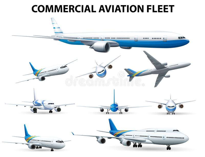 Airplane in different positions for commercial aviation fleet. Illustration vector illustration