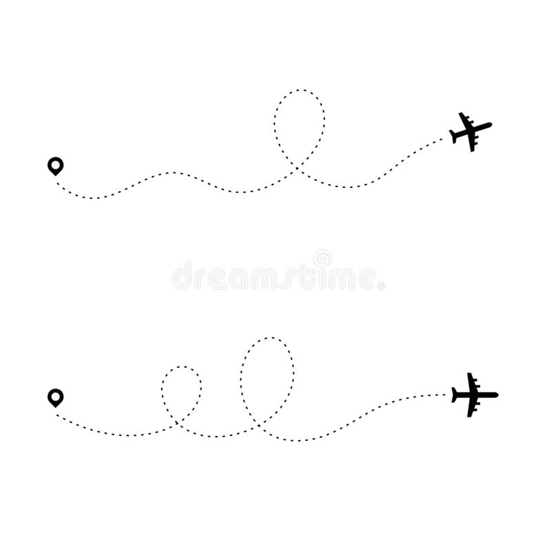 Airplane dotted path. Dash travel line route point aircraft path flight map trip plan airline trace. Plain path vector. Illustration stock illustration
