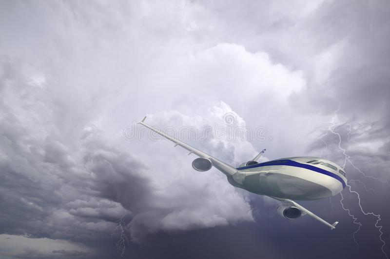 Airplane with dramatic sky and lightning, flying at bad weather with dark clouds royalty free stock images