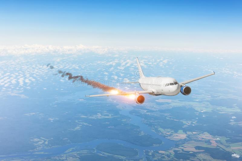 Airplane emergency flight with fire engine, reduction fall descent. Air crash investigation concept stock image