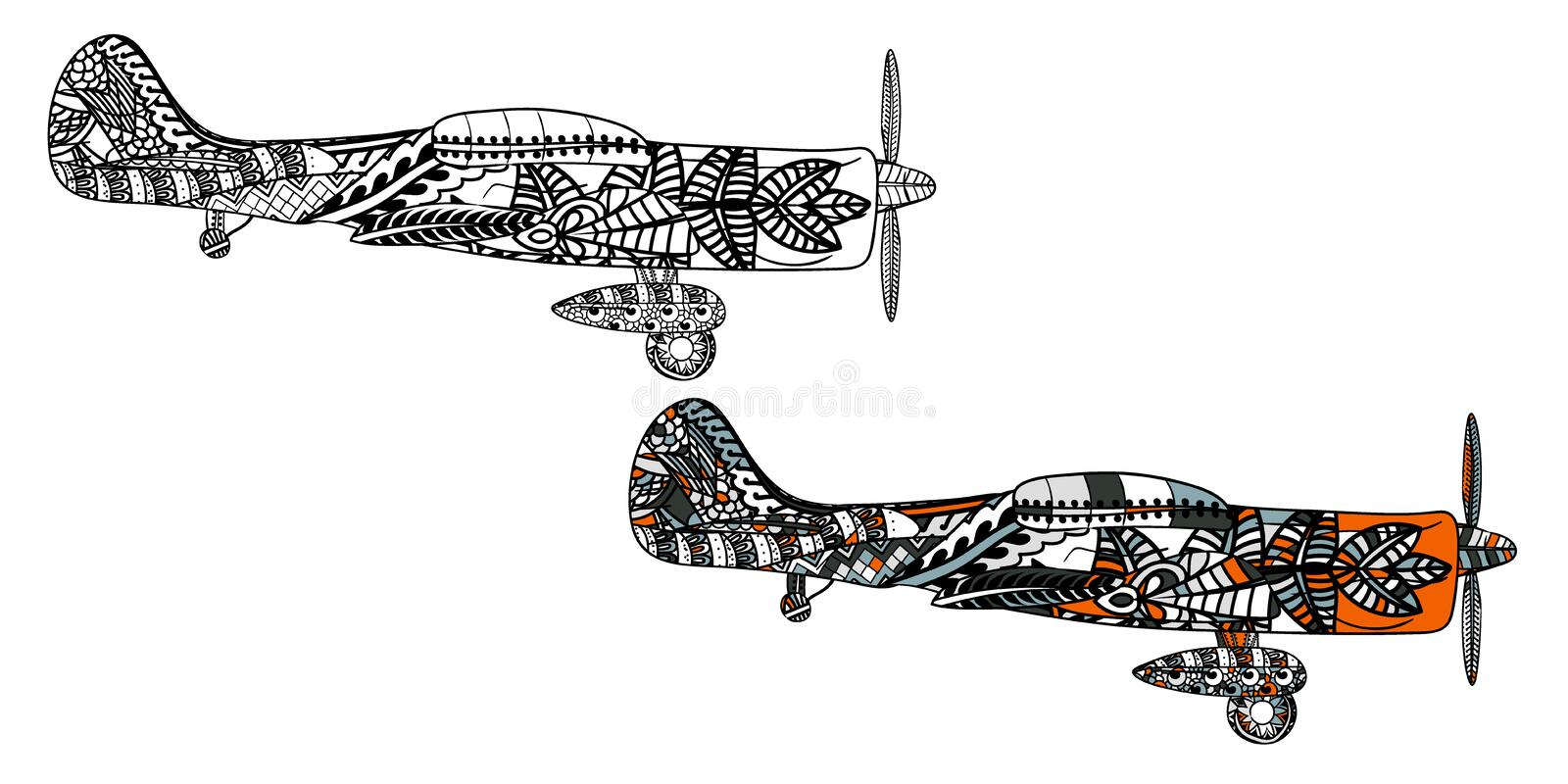Airplane with ethnic doodle pattern. Zentangle inspired pattern for anti stress coloring book pages for adults and kids. Black on white and colored in one royalty free illustration
