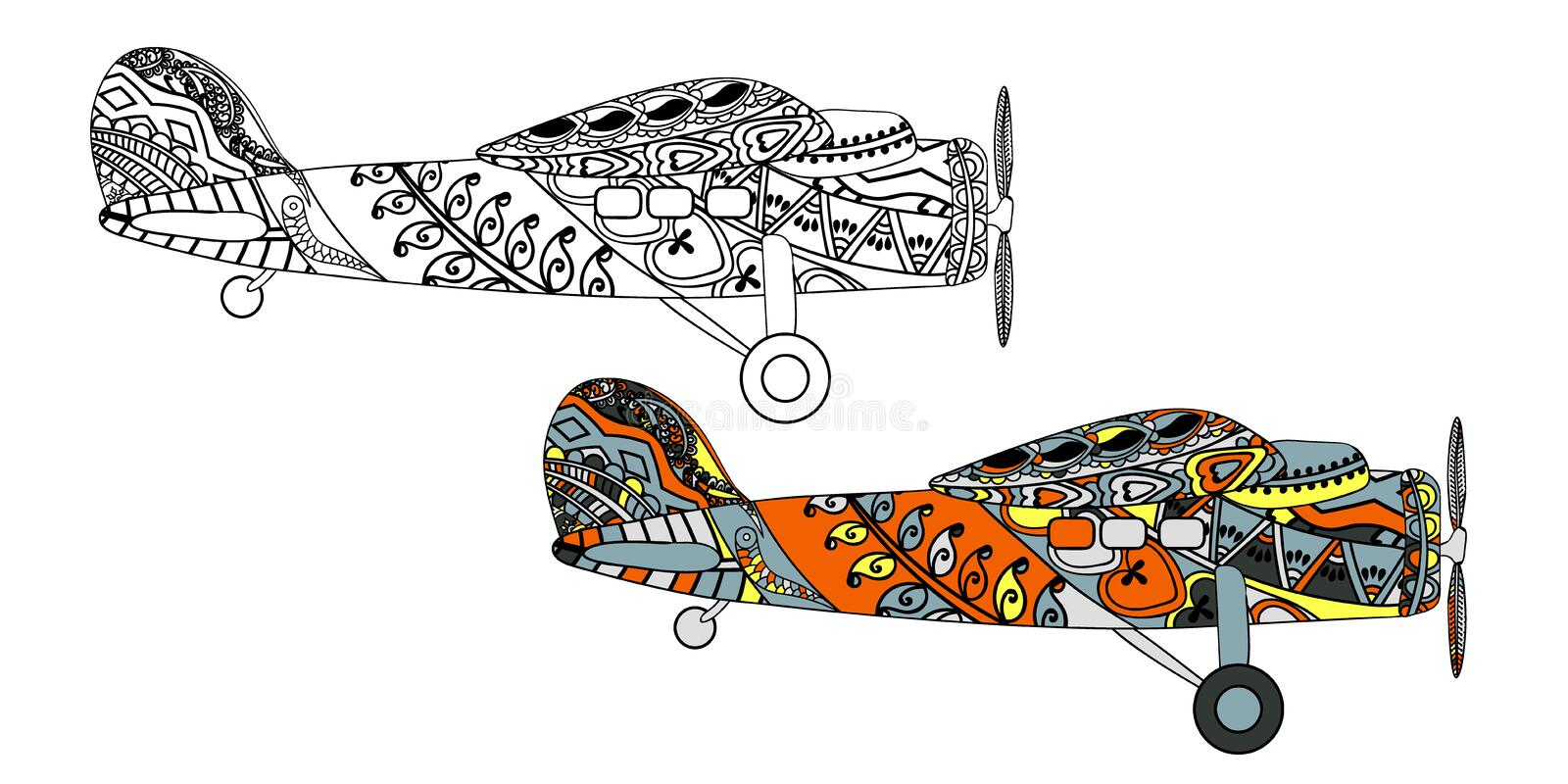 Airplane with ethnic doodle pattern. Zentangle inspired pattern for anti stress coloring book pages for adults and kids. Black on white and colored in one vector illustration