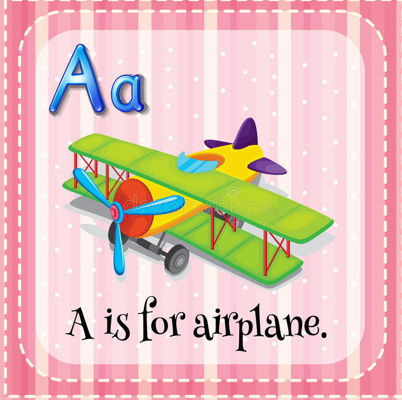 Airplane. Flashcard letter A is for airplane vector illustration