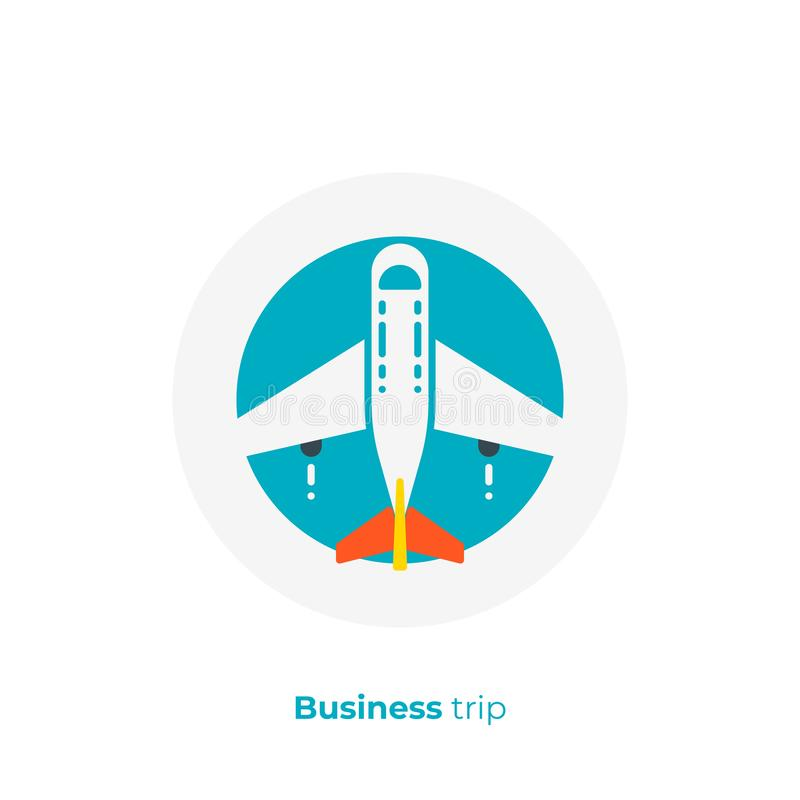Business air plane flat art vector icon royalty free illustration