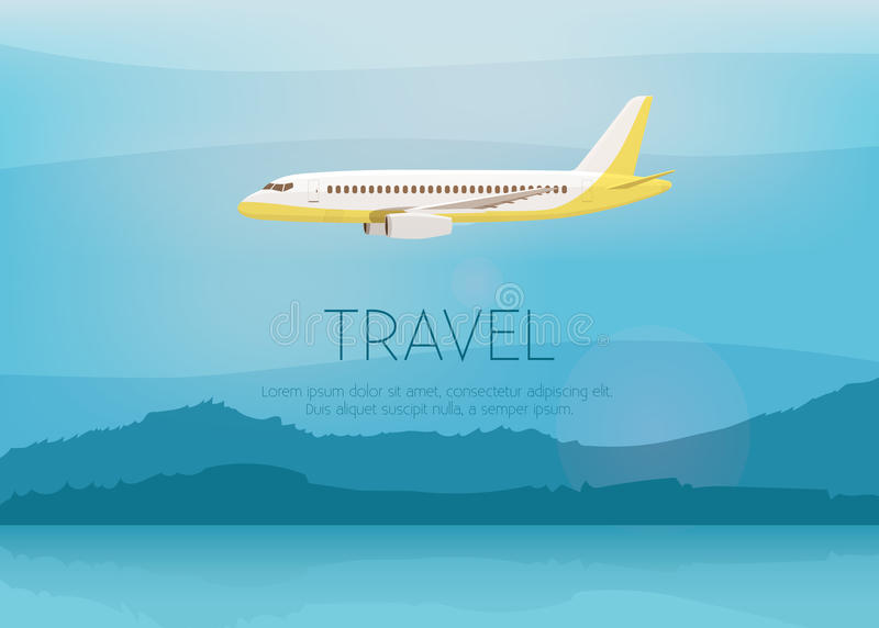 Airplane flies in the sky. Side view. Cartoon vector illustration royalty free illustration