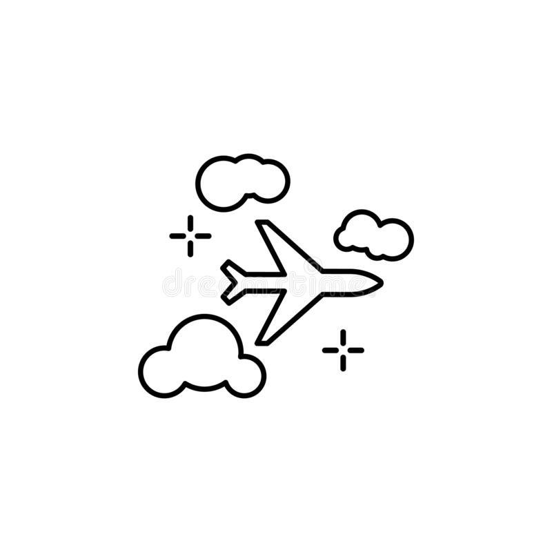 Airplane, flight, clouds icon. Element of airport line color icon. On white background vector illustration
