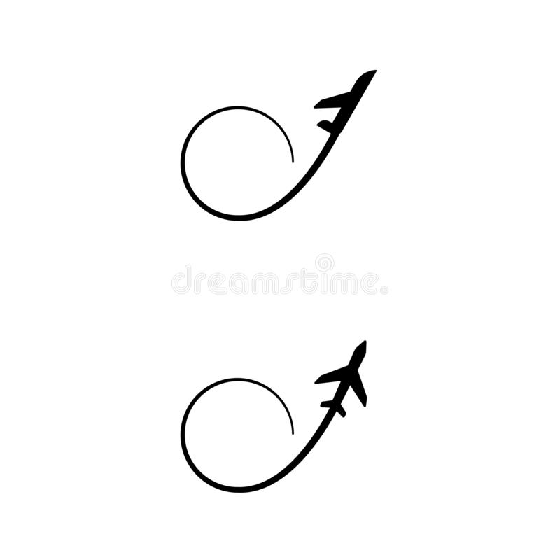 Airplane flight, condensation trail icon. Isolated on white background royalty free illustration