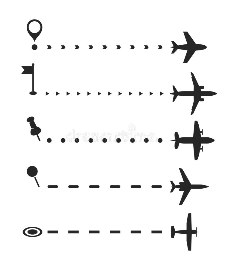 Airplane flight path vector brash set, airliner route with start point dashed line brushes and plane silhouettes royalty free illustration