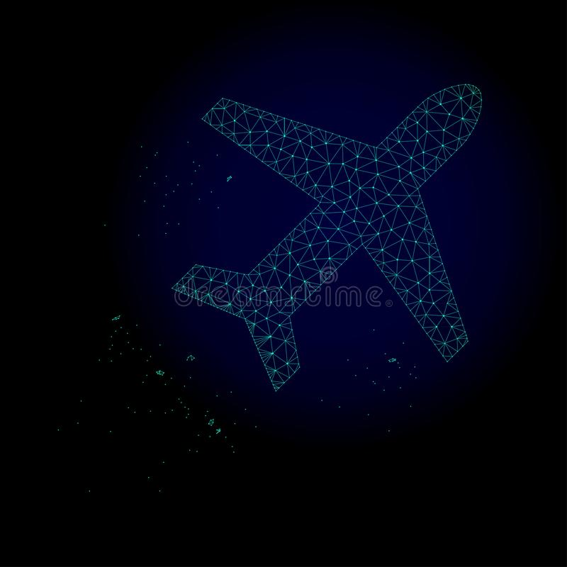 Airplane Flight Polygonal Frame Vector Mesh Illustration stock illustration