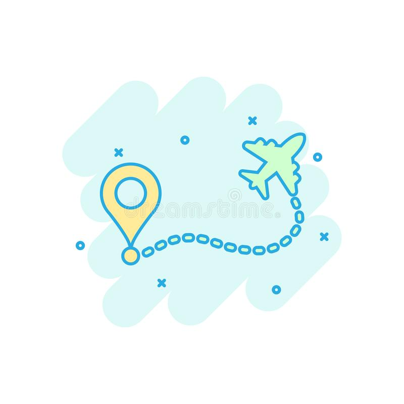 Airplane flight route icon in comic style. Travel line path vector cartoon illustration on white isolated background. Dash line. Trace business concept splash vector illustration
