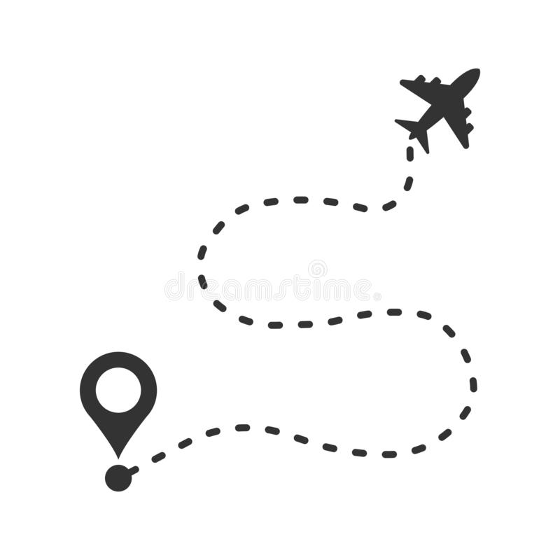 Airplane flight route icon in flat style. Travel line path vector illustration on white isolated background. Dash line trace. Business concept stock illustration
