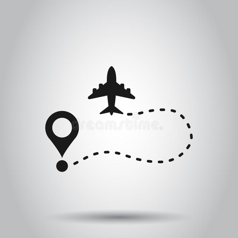 Airplane flight route icon in transparent style. Travel line path vector illustration on isolated background. Dash line trace. Business concept vector illustration