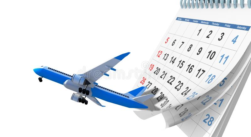 Airplane flight schedule , travel planning on a calendar  background - 3d rendering vector illustration