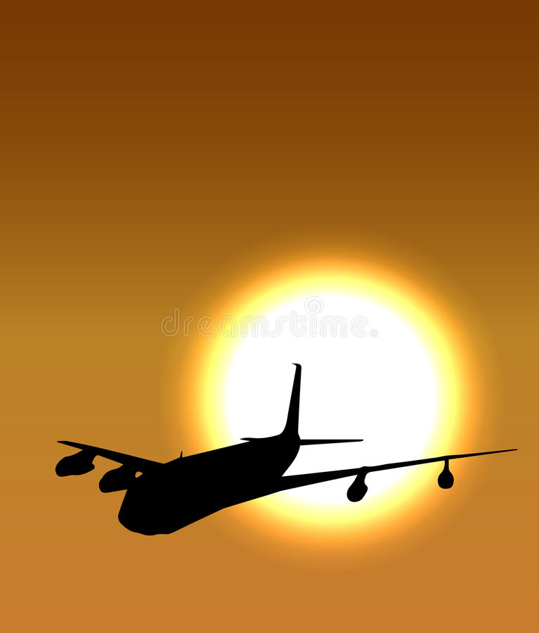 Airplane flight tickets air fly cloud sky travel. Vector 3 royalty free illustration