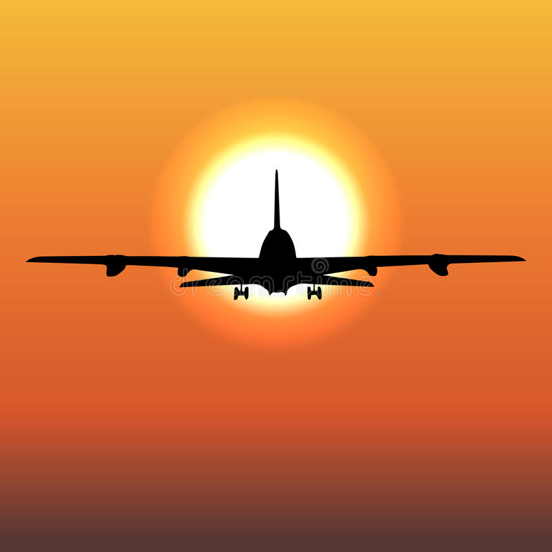 Airplane flight tickets air fly cloud sky travel. Vector 1 royalty free illustration