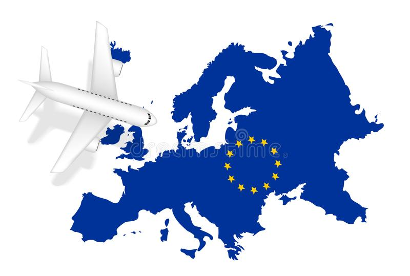 Airplane flight travel to europe on europe map stock illustration