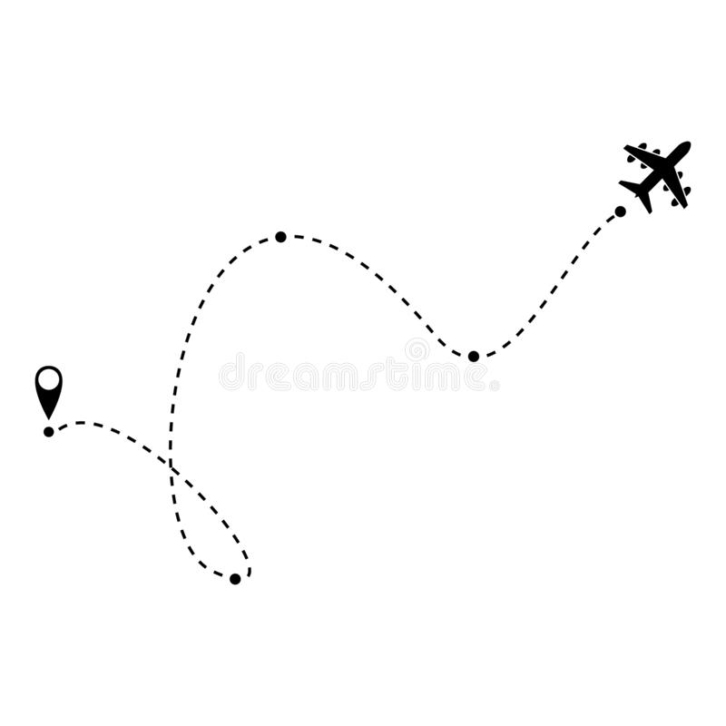 Airplane fligth route or air plane destination line path vector icon vector illustration