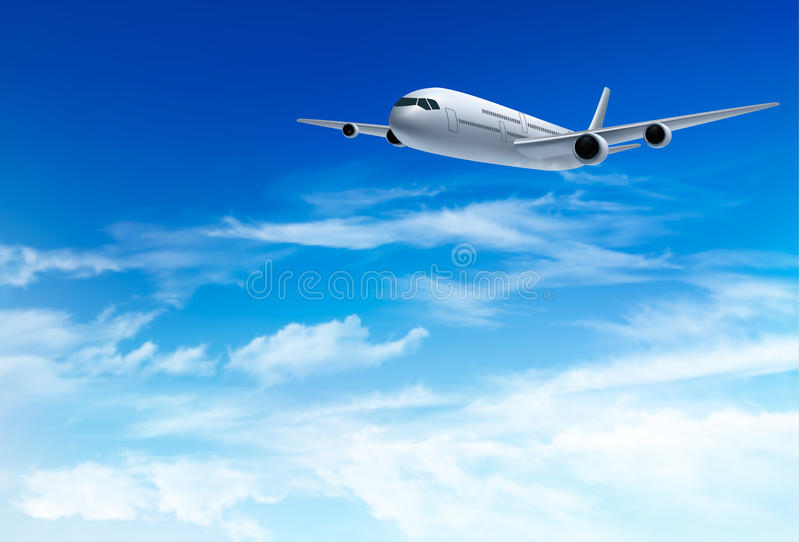 Airplane fly in the in a blue cloudy sky. Travel concept. Vector illustration stock illustration