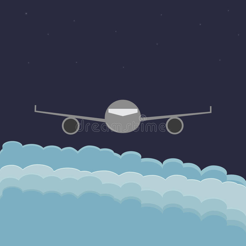 Airplane flying above clouds. With dark sky, space and stars in background. Children`s illustration. Air travel. EPS file available royalty free illustration