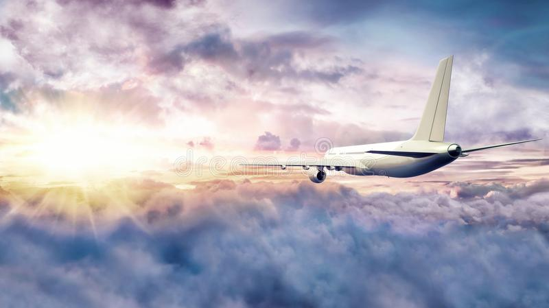 Airplane flying above clouds at sunset. 3D Rendering royalty free stock images