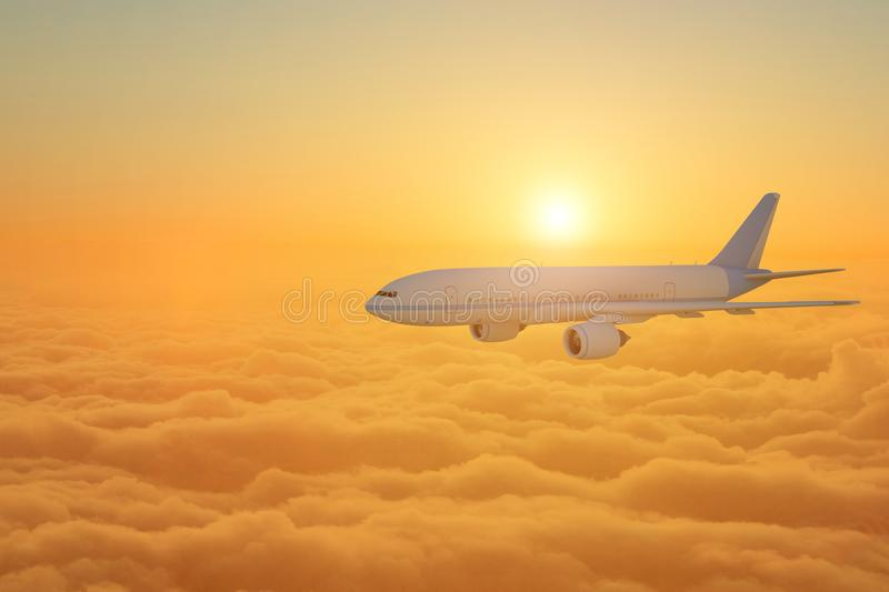 Airplane flying above clouds during sunset - 3d Rendering royalty free stock images