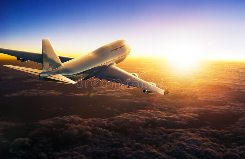 Airplane flying above clouds during sunset. 3d Rendering vector illustration