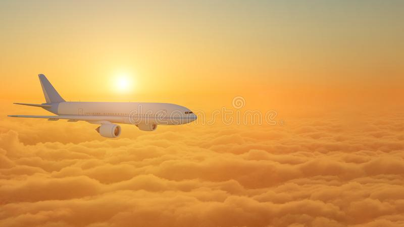 Airplane flying above clouds during sunset - 3d Rendering.  stock illustration