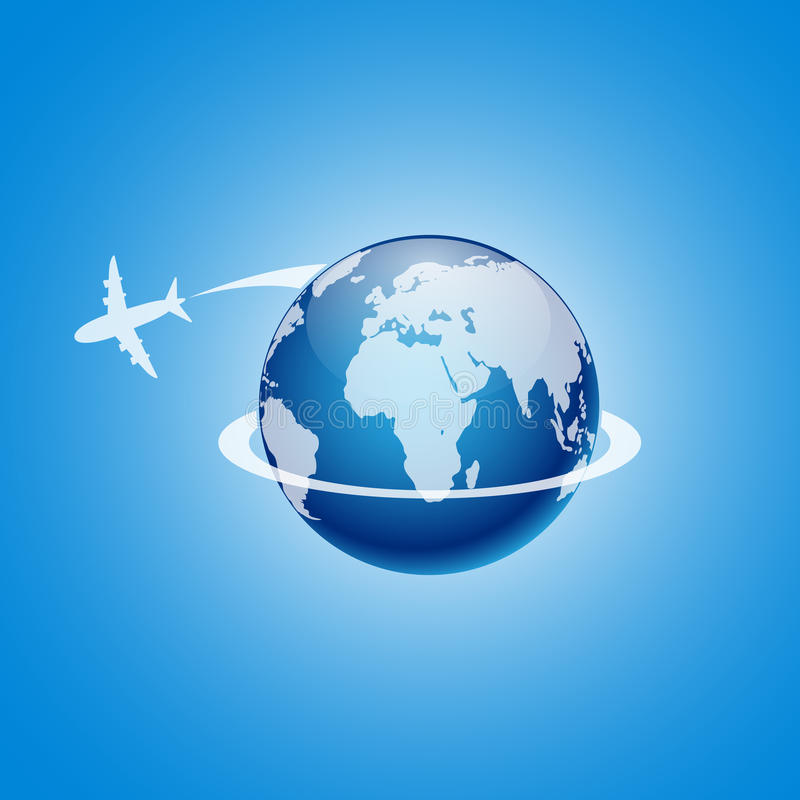 Airplane Flying Around The Globe Vector Illustration