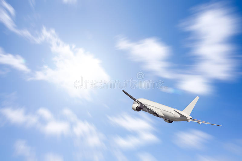 Download An Airplane Flying In The Blue Sky Stock Illustration - Illustration: 13855879