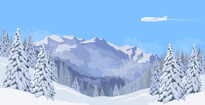 Airplane flying in a blue sky snow mountain winter landscape. Fir tree forest background travel banner template vector. Illustration art vector illustration
