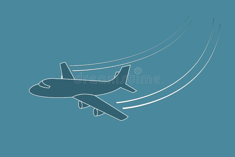 Airplane flying with changing direction using lines on blue background vector illustration for transport industry vector illustration