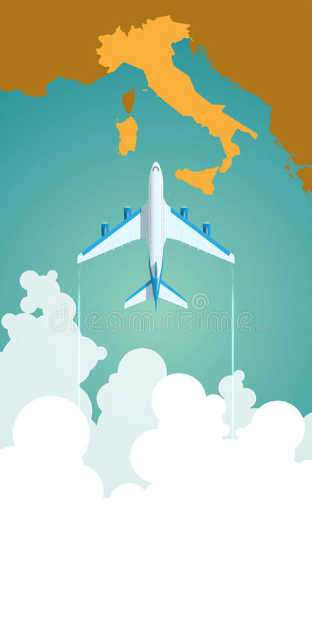 Airplane flying through clouds above the map of vector illustration
