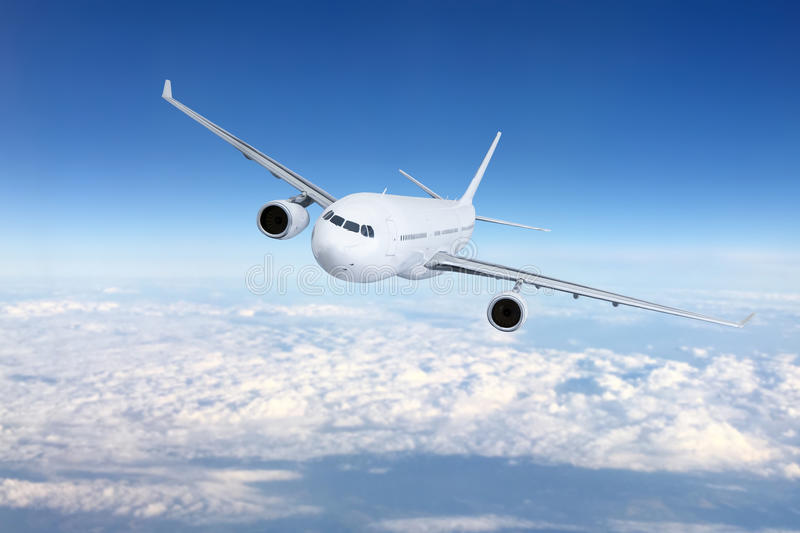 Airplane flying concept. stock photo