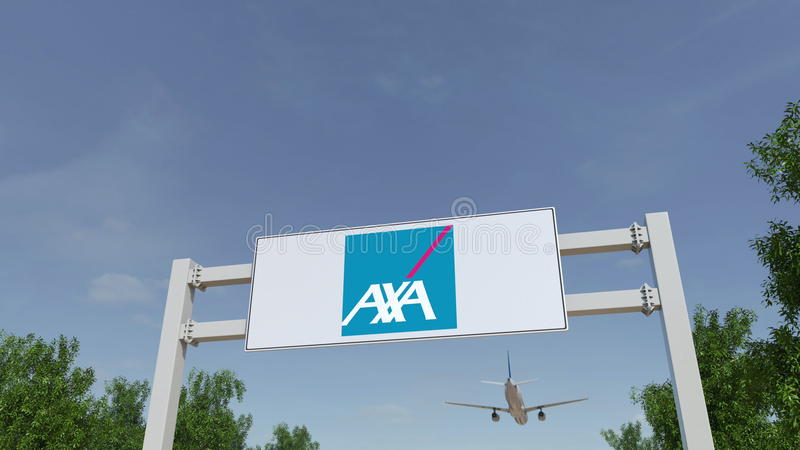 Airplane flying over advertising billboard with AXA logo. Editorial 3D rendering. Airplane flying over advertising billboard with AXA logo. Editorial 3D stock photos