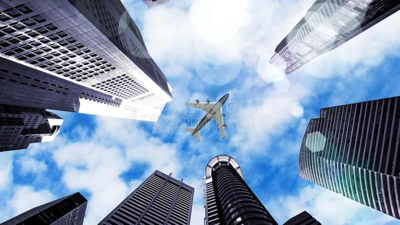 Airplane flying over city. And scyscrapers royalty free stock image