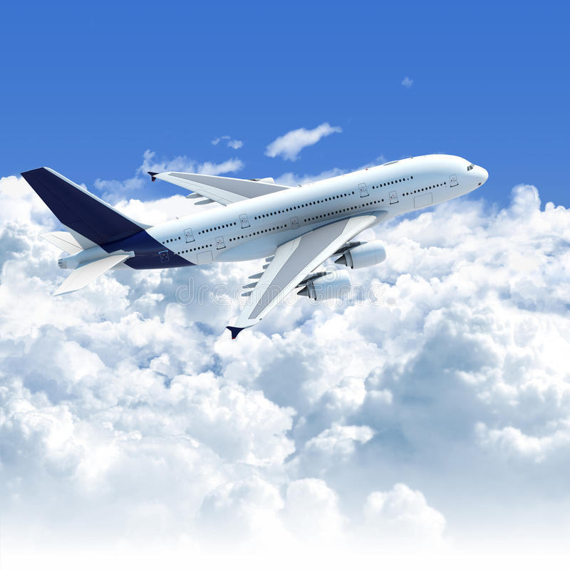 Airplane flying over the clouds stock illustration