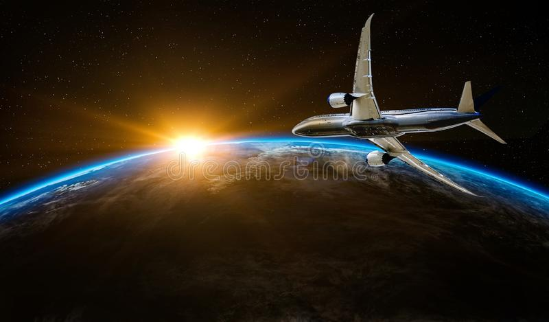 Airplane flying over the Earth planet. Flight outer space commercial tourism concept. stock images