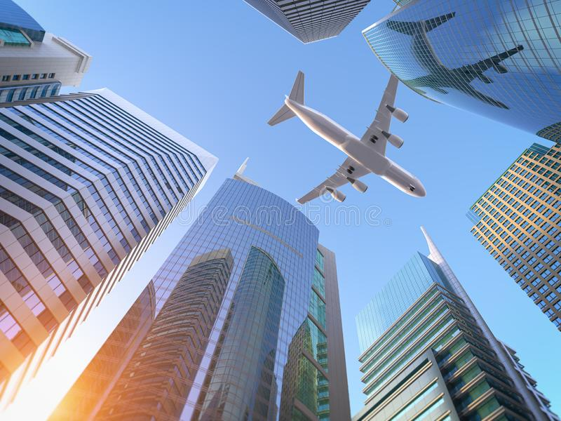 Airplane flying over skyscrapers n city downtown district. Business corporate travel background concept vector illustration