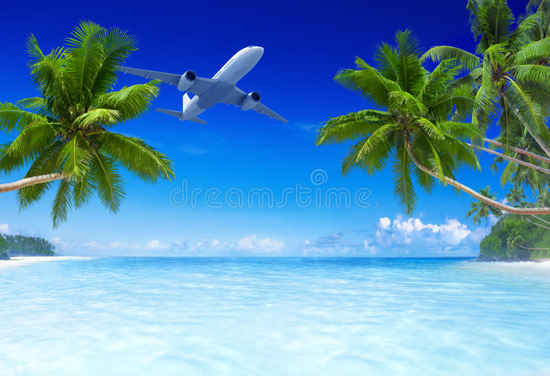 Airplane Flying Over Tropical Beach.  stock images