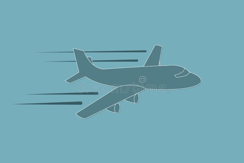 Airplane flying with speed and straight path vector illustration on blue background for transport industry royalty free illustration