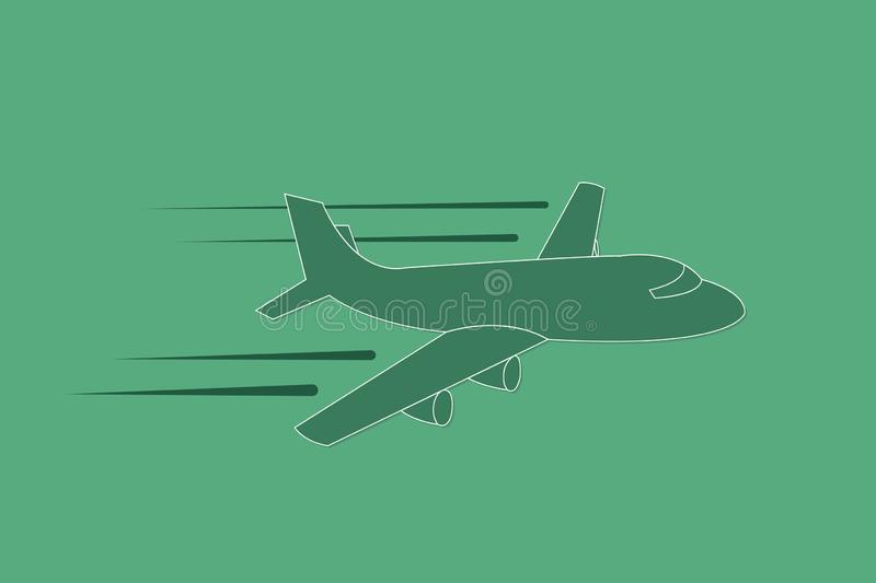 Airplane flying with speed and straight path vector illustration on green background vector illustration